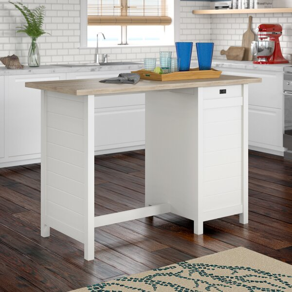 #2 Hampton Kitchen Island With Lintel Oak Top By Beachcrest Home 2019 Sale