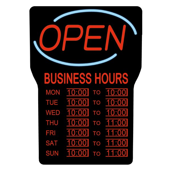 LED Open Bar Sign with Hours by Royal Sovereign In