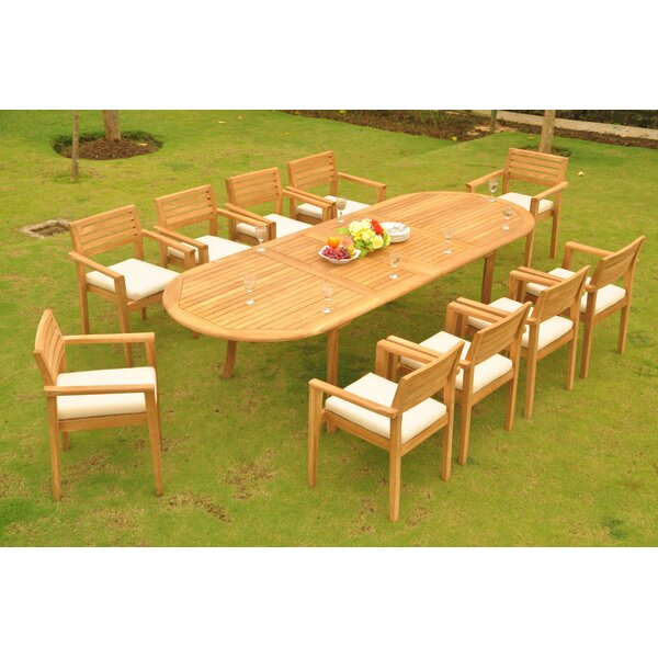 Alexandro 11 Piece Teak Dining Set by Rosecliff Heights