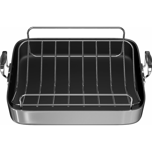 18 Polished Aluminum French Roaster with Rack by Chef's Design