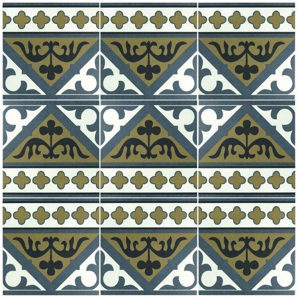 Seni Orleans Cenefa 9.75 x 9.75  Porcelain Field Tile in Blue by EliteTile