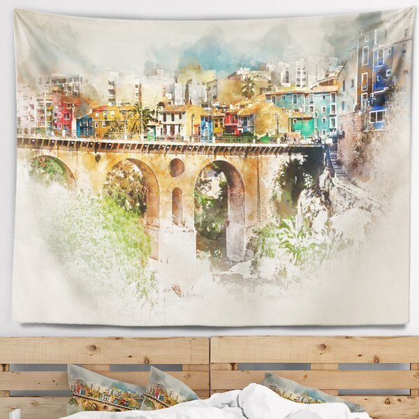 Cityscape Villajoyosa City Digital Art Bridge Tapestry and Wall Hanging by East Urban Home