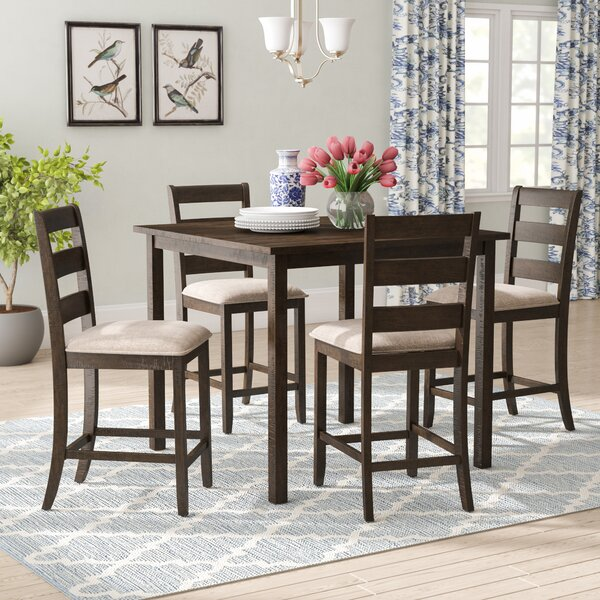 Catalina 5 Piece Solid Wood Counter Height Dining Set by Darby Home Co