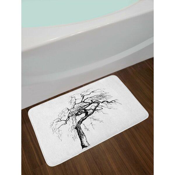 Black White Tree Bath Rug by East Urban Home