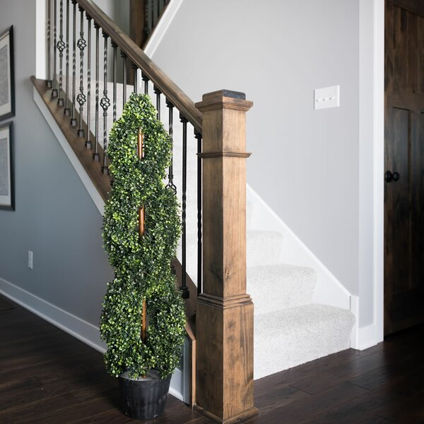 Inherently Flame Retardant Double Spiral Floor Boxwood Topiary in Pot by Fleur De Lis Living