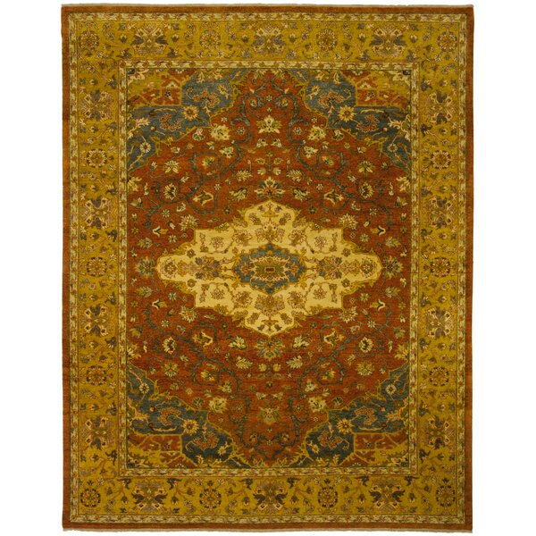 Heriz Hand-Knotted Rust Area Rug by Shalom Brothers