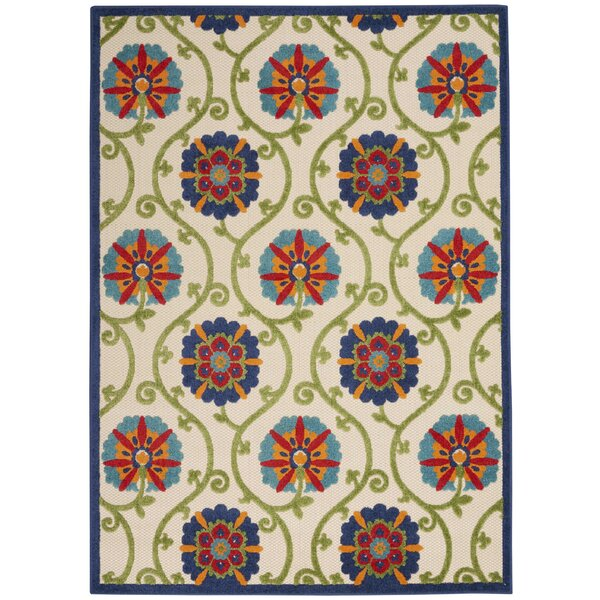 Lahaina Power Loom Ivory/Blue/Green Indoor / Outdoor Rug