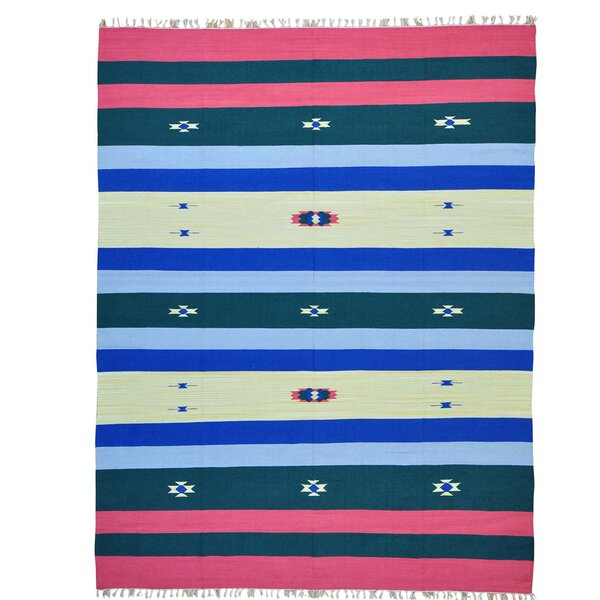 One-of-a-Kind Toler Flat Weave Killim Hand-Knotted Cotton Blue/Red Area Rug by Millwood Pines