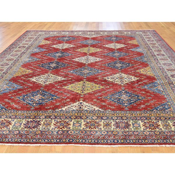 One-of-a-Kind Tillman Super Hand-Knotted Red/Blue Area Rug by Millwood Pines