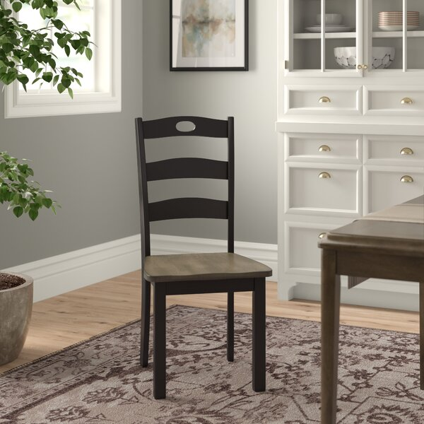 Penzance Solid Wood Ladder Back Side Chair In Grayish Brown/Black (Set Of 2) By Three Posts
