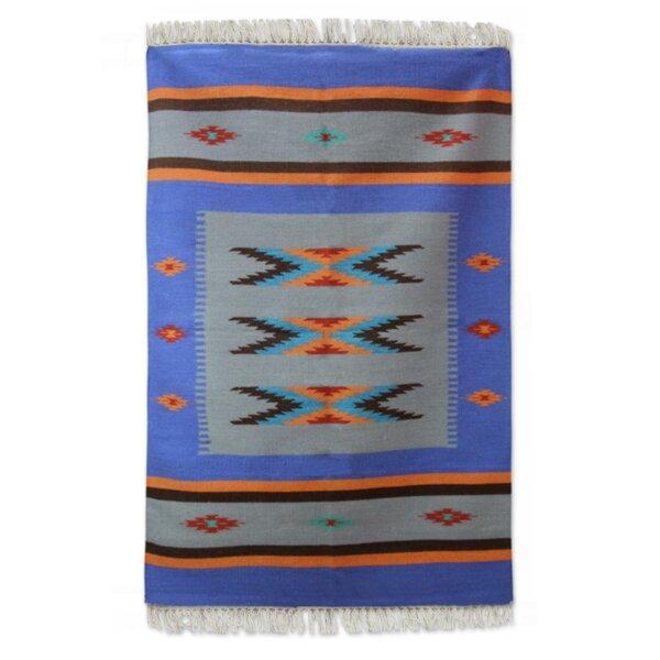 Sonik Sethi Hand-Woven Blue Area Rug by Novica