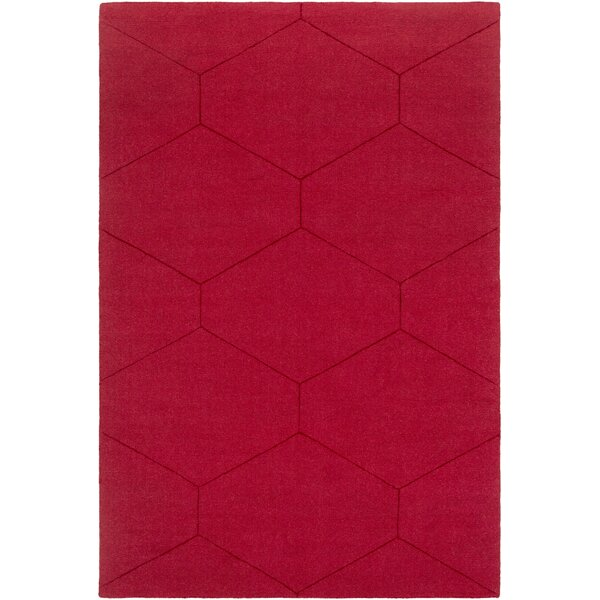 Pulcova Hand Woven Wool Dark Red Area Rug by Wrought Studio