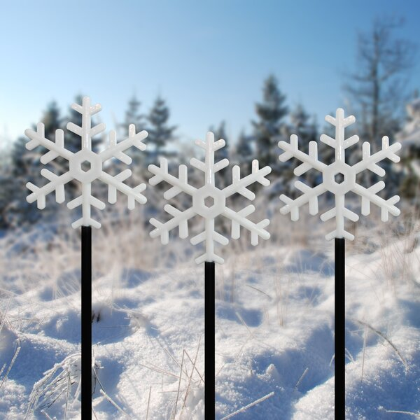 Snowflake Flashing Garden Stake (Set of 3) by Alpine
