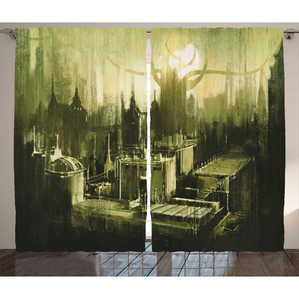 Sunset View Graphic Print Room Darkening Rod Pocket Curtain Panels (Set of 2) by East Urban Home