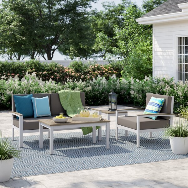 Caspian 4 Piece Sofa Set with Cushions by Sol 72 Outdoor