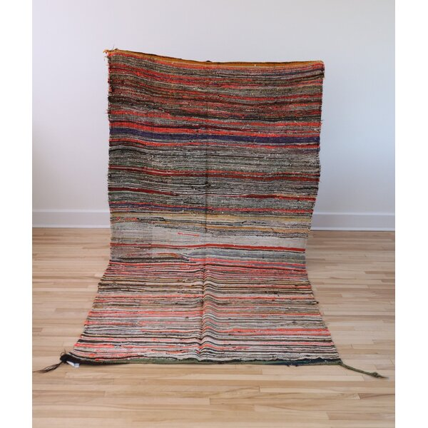 One-of-a-kind Atlas Handmade Kilim Wool Orange/Green Area Rug by Bungalow Rose