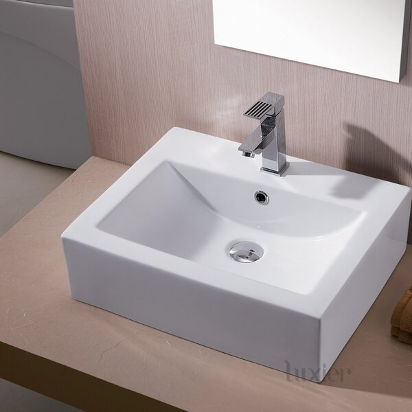 L-003 Bathroom Ceramic Rectangular Vessel Bathroom Sink with Overflow by Luxier