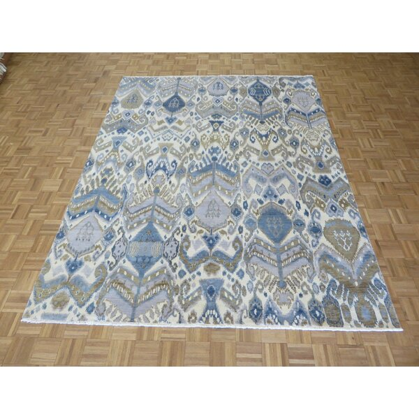One-of-a-Kind Pellegrino Ikat Peshawar Hand-Knotted Wool Ivory/Sky Blue Area Rug by Bloomsbury Market
