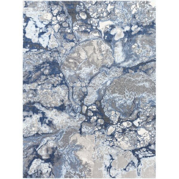 Candelaria Abstract Bright Blue/Navy Area Rug by Williston Forge