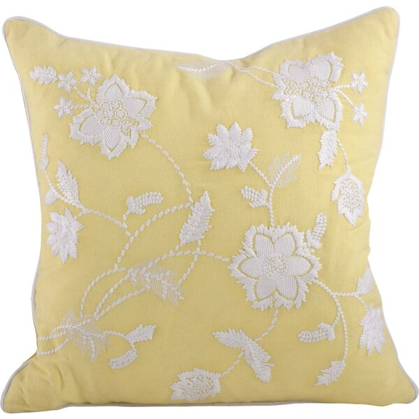 Laverna Embroided Floral Cotton Throw Pillow by Saro
