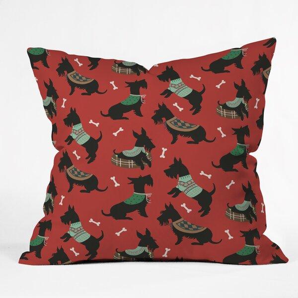 Christmas Canine Scottie Throw Pillow by Mercury Row