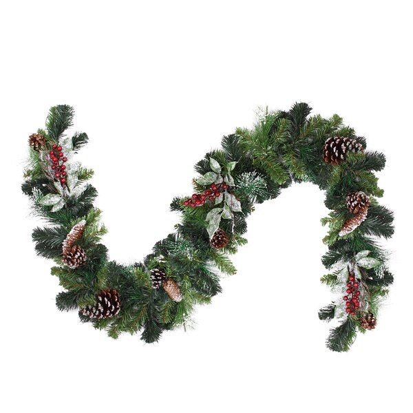 Pre-Decorated Frosted Pine Cone and Berry Artificial Christmas Garland by Northlight Seasonal