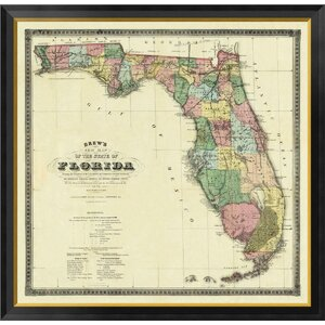 'New Map of The State of Florida, 1870' by Columbus Drew Framed Graphic Art on Canvas by Global Gallery