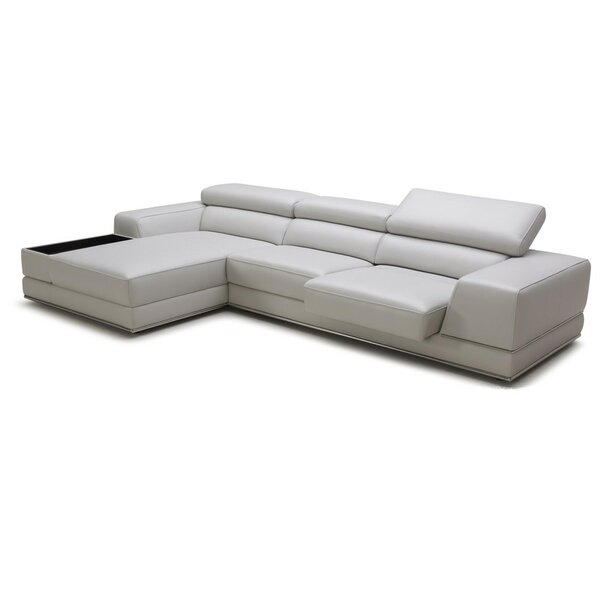 Manatuto Leather Left Hand Facing Reclining Sectional By Orren Ellis