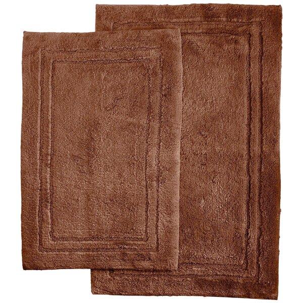 Huson Rectangular 100% Cotton Non-Slip Solid 2 piece Bath Rug Set