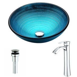 Great Price Enti Glass Circular Vessel Bathroom Sink with Faucet By ANZZI