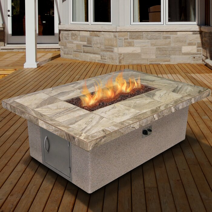 Stucco And Tile Rectangle Steel Propane Fire Pit Table