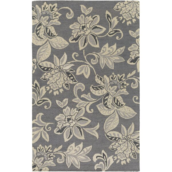 Eberhard Hand-Tufted Gray/Off-White Area Rug by Charlton Home