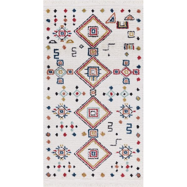 Hervey White Area Rug by Bloomsbury Market