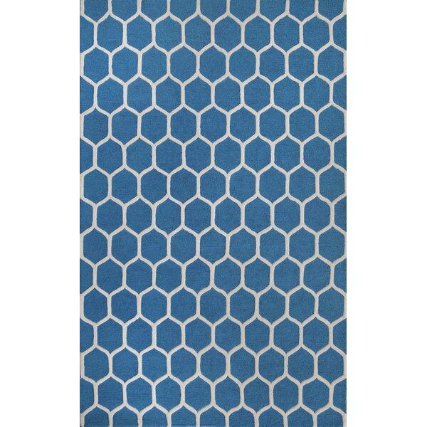 Dewar Hand-Tufted Blue/White Area Rug by Brayden Studio