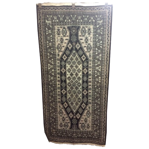 One-of-a-Kind Winne Afghan Tribal Hand-Knotted Wool Black Area Rug by Bloomsbury Market