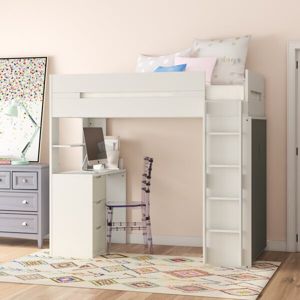 Adne Wooden Twin Loft Bed with Drawers and Desk Shelf and Wardrobe by Mack & Milo