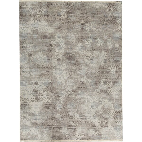 One-of-a-Kind Abstract Hand-Knotted 9'1 X 12'1 Gray/Blue Area Rug
