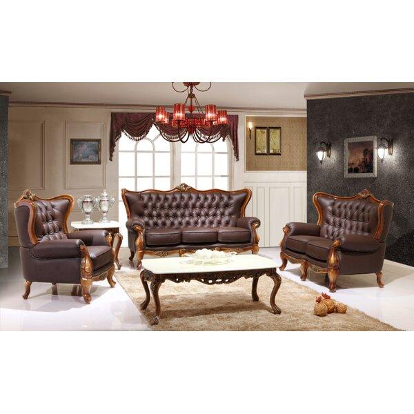 Adison Leather 3 Piece Living Room Set by Astoria Grand Astoria Grand