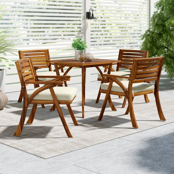 Ajax 5 Piece Dining Set with Cushions by Mercury Row