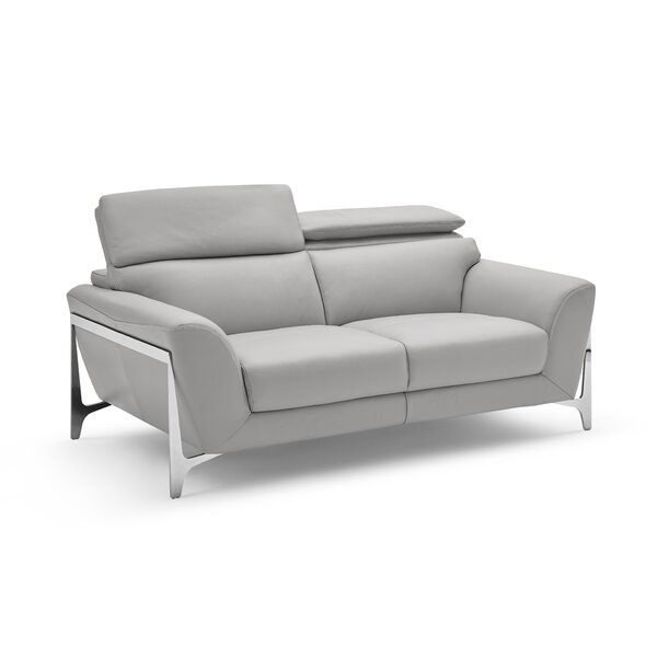 Closeout Binghampton Leather Loveseat by Orren Ellis by Orren Ellis