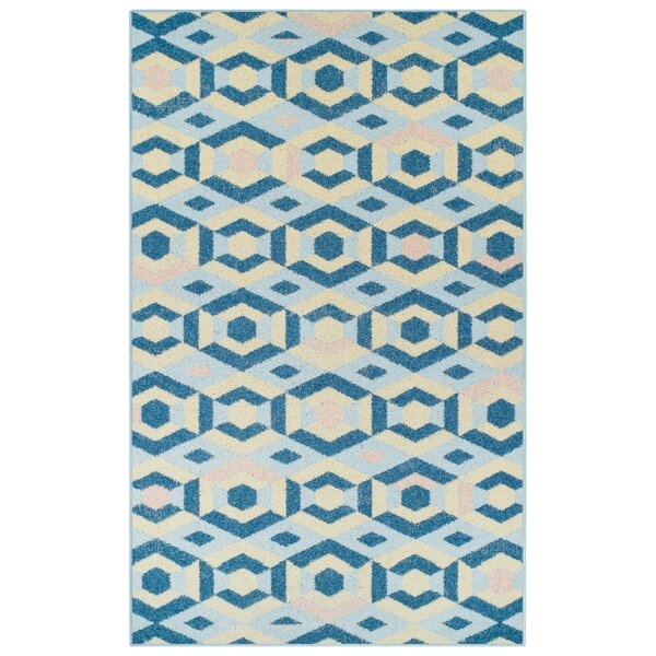 Ira Polygon Blue Area Rug by George Oliver