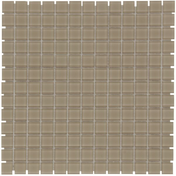 Montreal 0.9 x 0.9 Glass Mosaic Tile in Clear Taupe by The Mosaic Factory