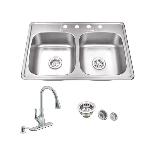 33 L x 22 W Double Bowl Drop-In Stainless Steel Kitchen Sink with Faucet by Soleil