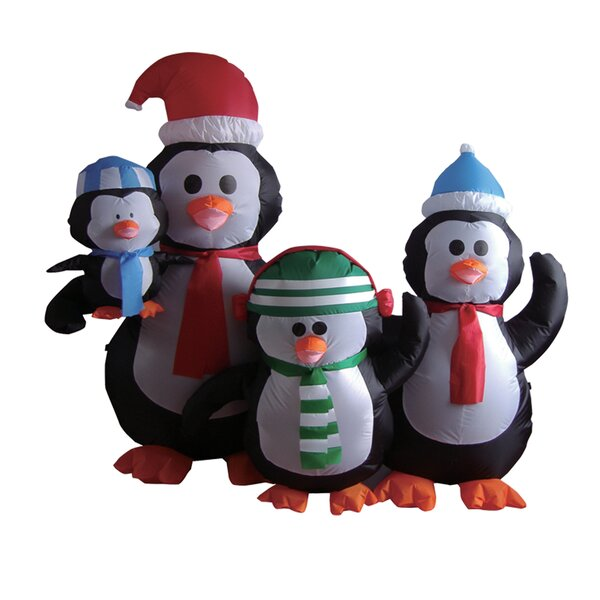 5 Foot Penguin Family Inflatable by The Holiday Aisle