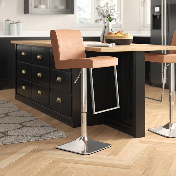 Bissett Adjustable Height Swivel Bar Stool by Brayden Studio