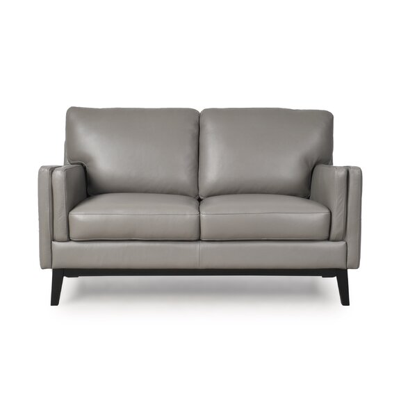 Review Lanoue Leather Loveseat