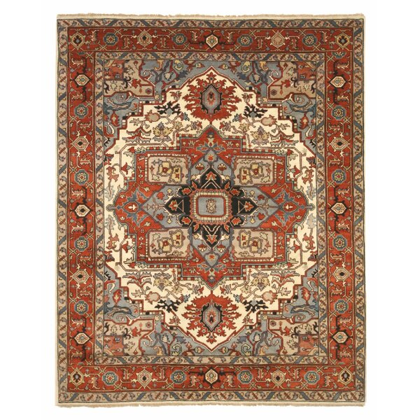 Drewry Traditional Oriental Hand-Knotted Wool Blue/Red Area Rug by Bloomsbury Market