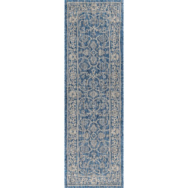 Haupt Vine And Border Textured Weave Indoor/Outdoor Navy Area Rug