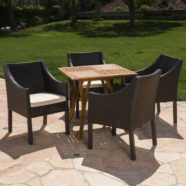 Guerrera Teresa Outdoor Acacia Wood/Wicker 5 Piece Dining Set with Cushions by Wrought Studio