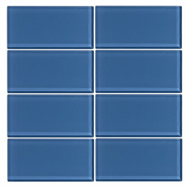 3 x 6 Glass Subway Tile in Denim by Vicci Design